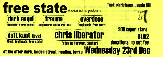 Free State Sound System, Boxing Club 1998-12-23 flyer front
